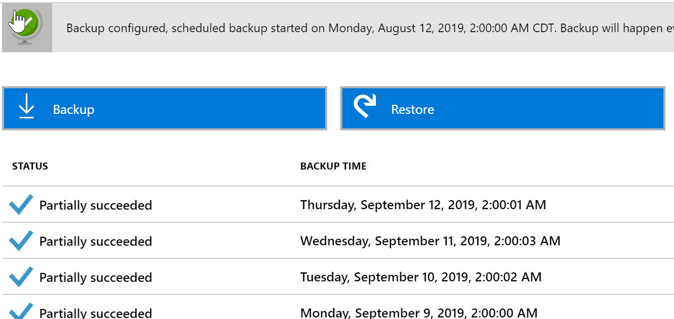 Backup failure example